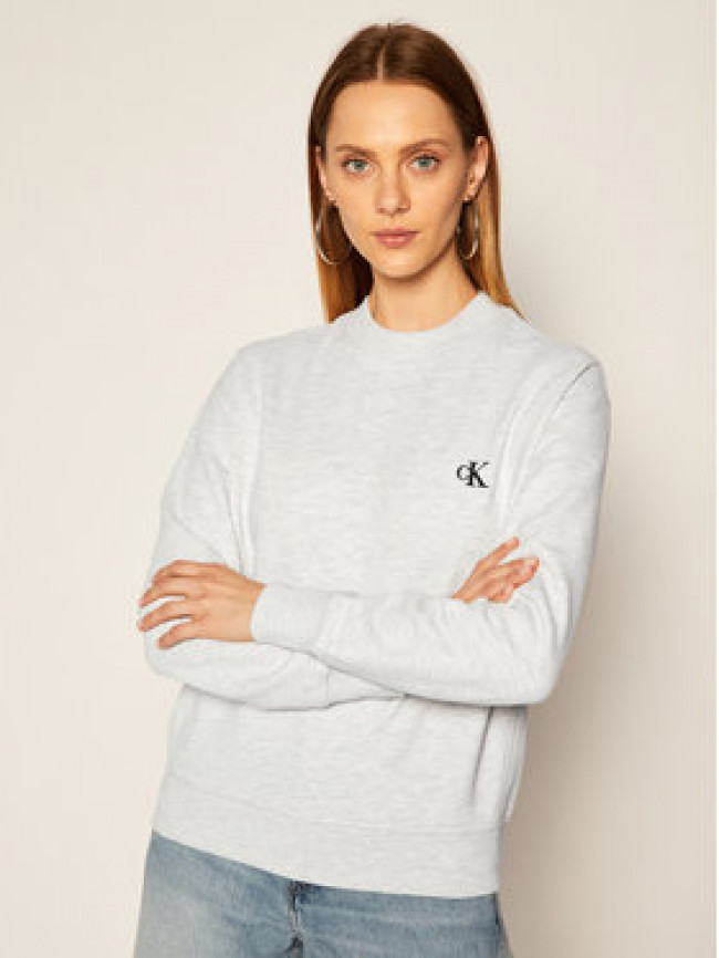 Calvin Klein Jeans Mikina Embroidered Logo J20J212875 Sivá Regular Fit