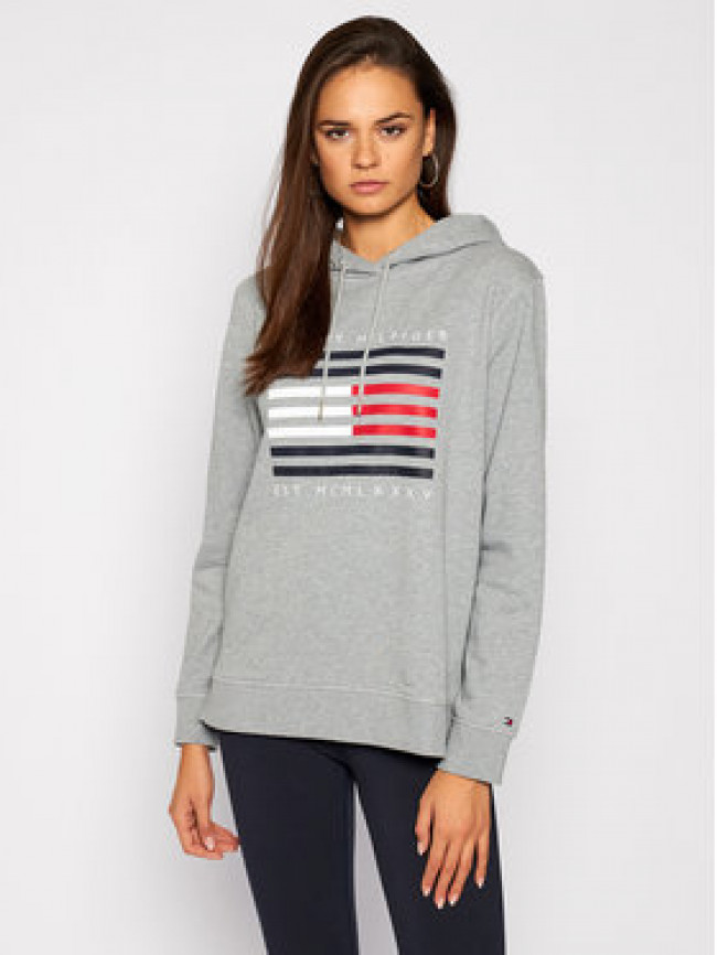 Tommy Hilfiger Mikina Regular Flag WW0WW29638 Sivá Regular Fit