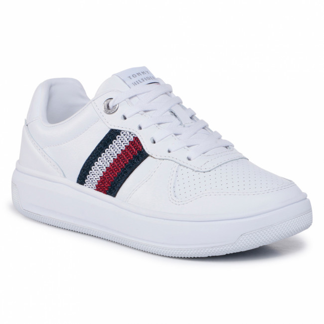 Sneakersy TOMMY HILFIGER - Corporate Tommy Leather Cupsole FW0FW05220 White YBR