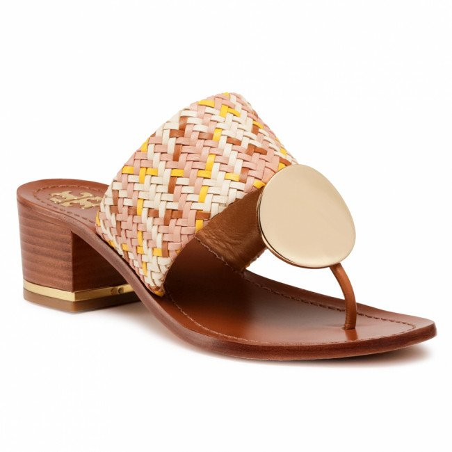 Žabky TORY BURCH - Patos Disk 45mm Sandal 74005 Woven/Neutral Woven 811