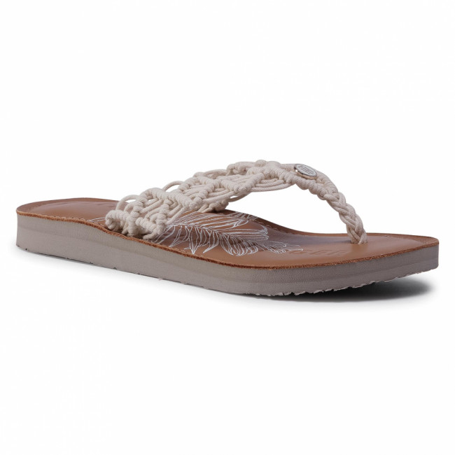 Žabky TOMMY HILFIGER - Tropical Leather Beach Sandal FW0FW04985 Ivory YBI
