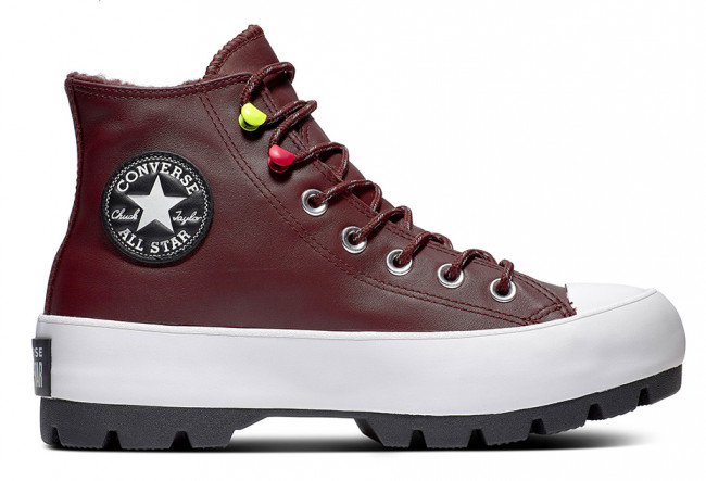 Converse gore-tex bordové kožené tenisky na platforme Chuck Taylor All Star Lugged Winter Dark Chocolate