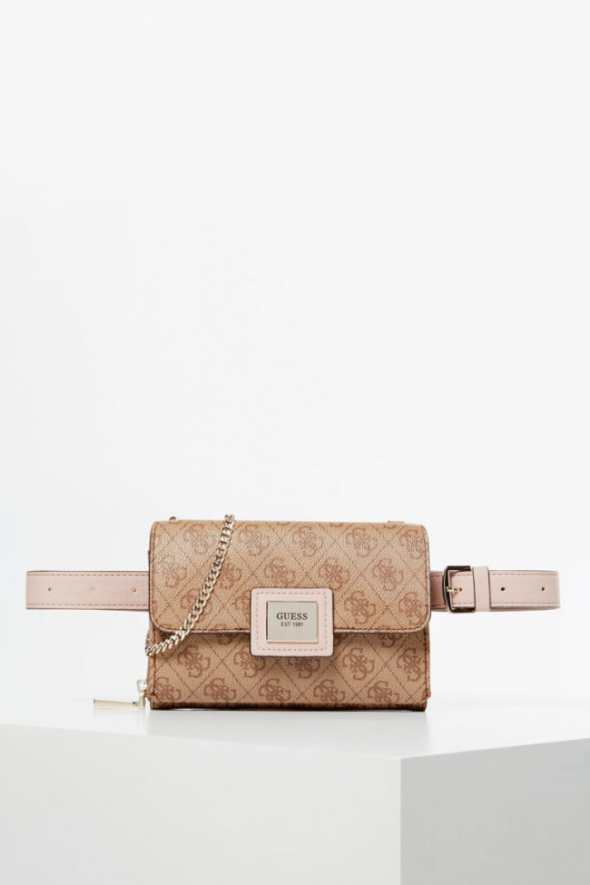 Guess béžová ľadvinka Candace Belt Bag Logo All Over