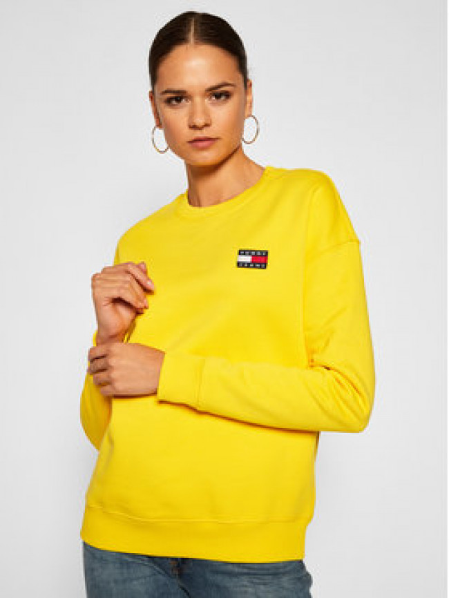 Tommy Jeans Mikina Badge Crew DW0DW07786 Žltá Regular Fit