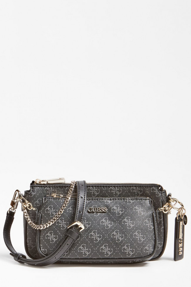 Guess čierna crossbody kabelka Arie Crossbody 4G Logo All Over