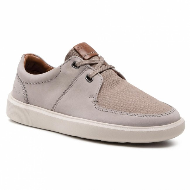Poltopánky CLARKS - Cambo Lace 261582927 Stone Combi