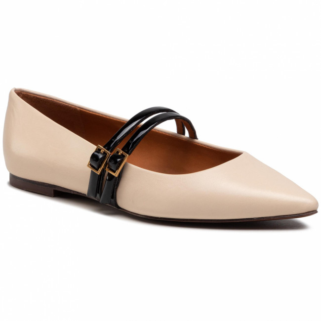 Poltopánky TORY BURCH - 2 Band 5Mm Pointy Toe Flat 80687 Dulce De Leche/Perfect Black 200