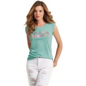Guess Top Cap-Sleeve Vegas Muscle Tee tyrkysová