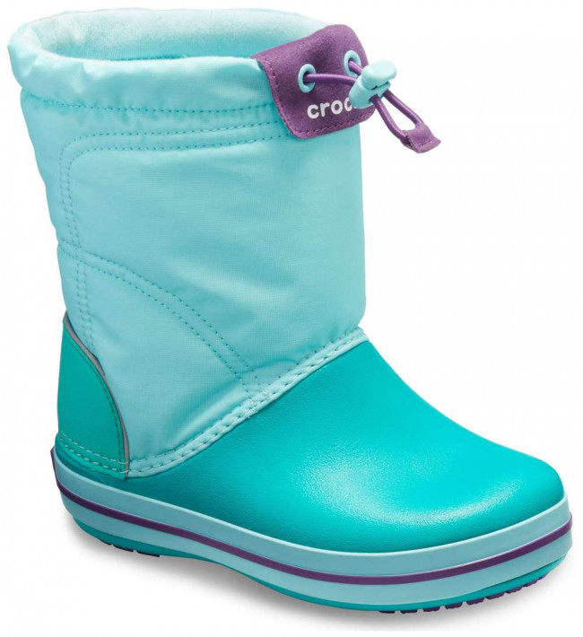 Crocs tyrkysové snehule Crocband Lodgepoint Boot Ice Blue/Tropical Teal
