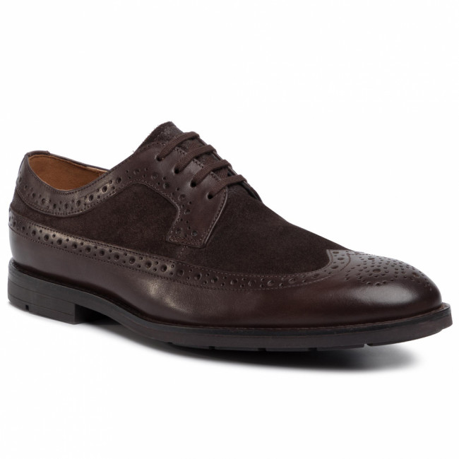 Poltopánky CLARKS - Ronnie Limit 261436427  Dark Brown Combi