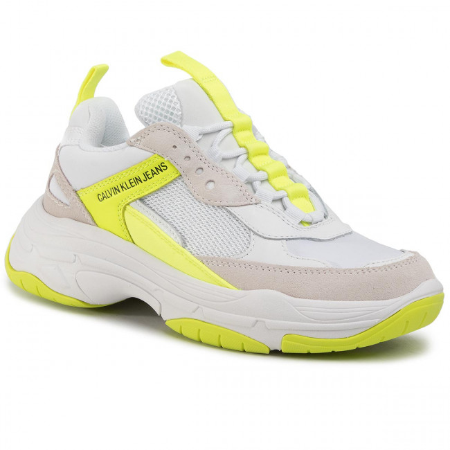 Sneakersy CALVIN KLEIN JEANS - Maya R0802 White/Yellow Fluo