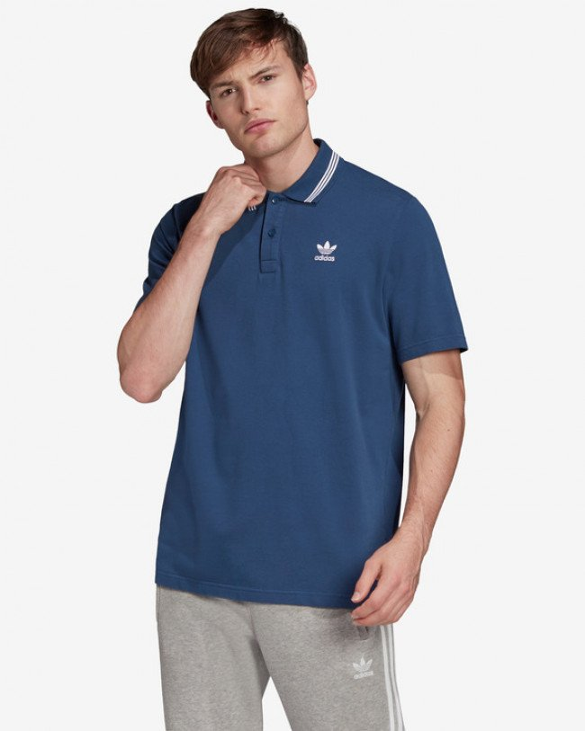 adidas Originals Trefoil Essentials Polo tričko Modrá