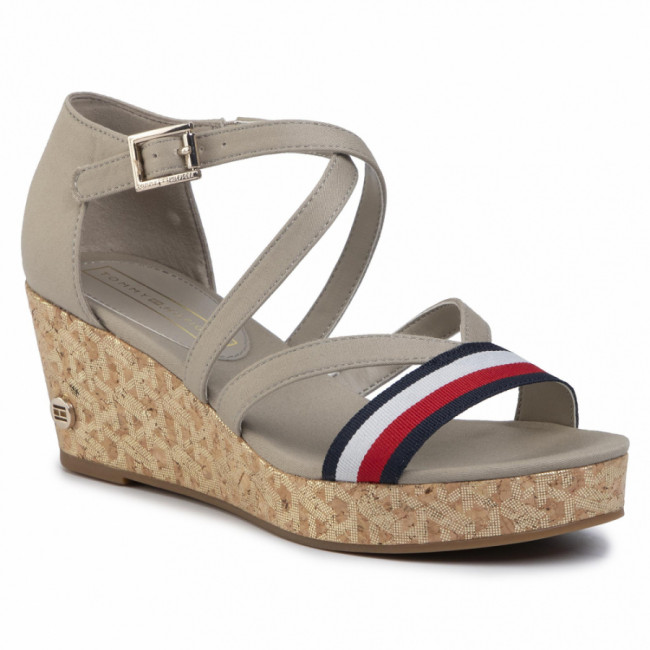 Sandále TOMMY HILFIGER - Corporate Detail Mid Wedge FW0FW04616 Stone AEP