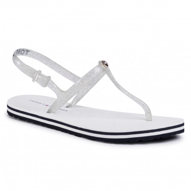 Sandále TOMMY HILFIGER - Irredescent Flat Beach Sandal FW0FW04796 White YBS