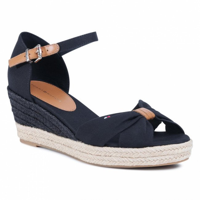 Espadrilky TOMMY HILFIGER - Basic Opened Toe Mid Wedge FW0FW04785 Black BDS