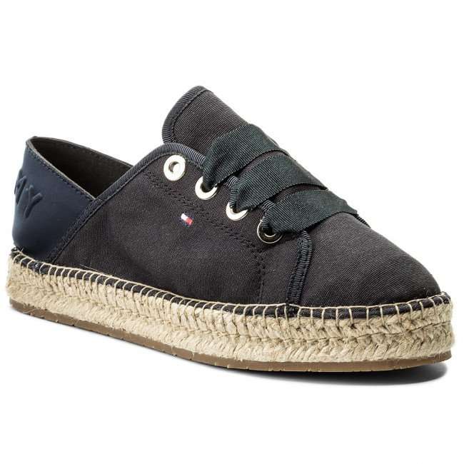 Espadrilky TOMMY HILFIGER - Th Metallic Lace Up Espadrille FW0FW02218  Midnight 403