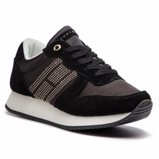 Sneakersy TOMMY HILFIGER - Sparkle Satin City Sneaker FW0FW03991 Black 990