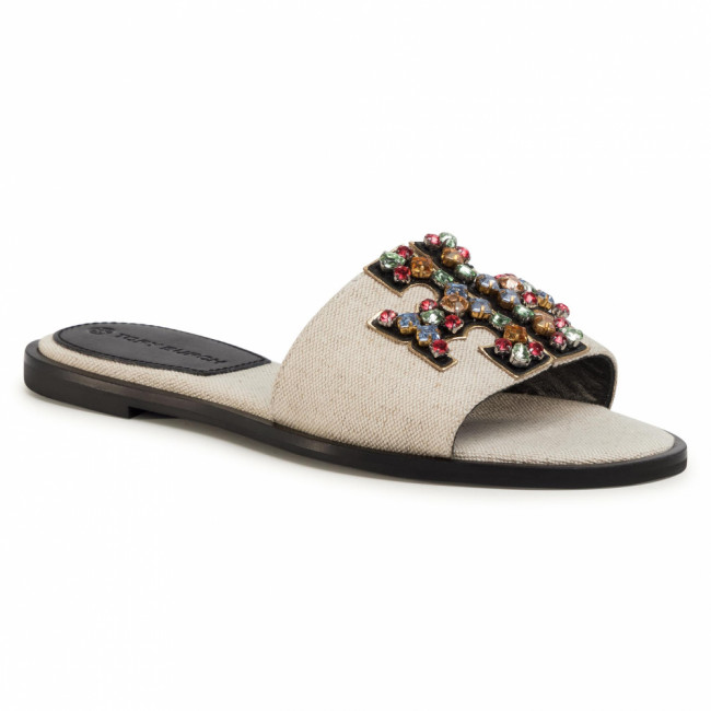 Šľapky TORY BURCH - Ines Embellished Slide 73256 Natural/Ambra/Gold 250