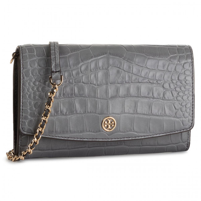 Kabelka TORY BURCH - Robinson Embossed Chain Wallet 56641 Zinc 025