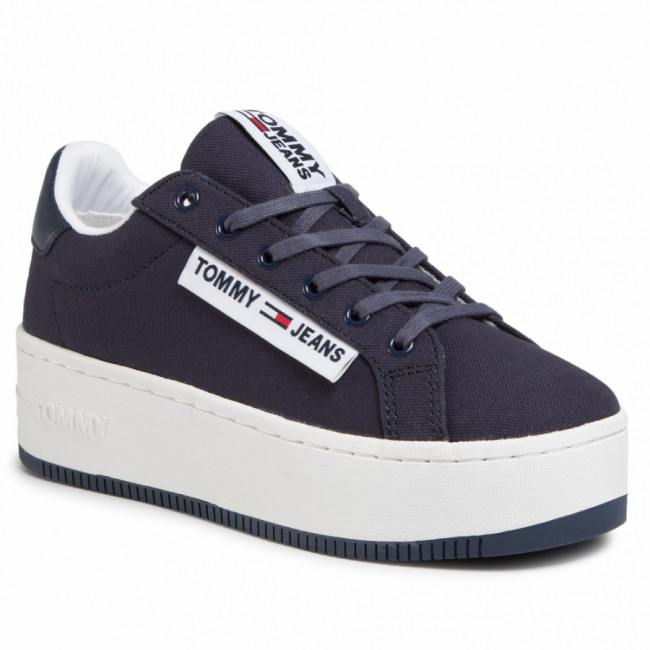 Sneakersy TOMMY JEANS - Oversized Label Icon Sneaker EN0EN00787 Twilight Navy C87