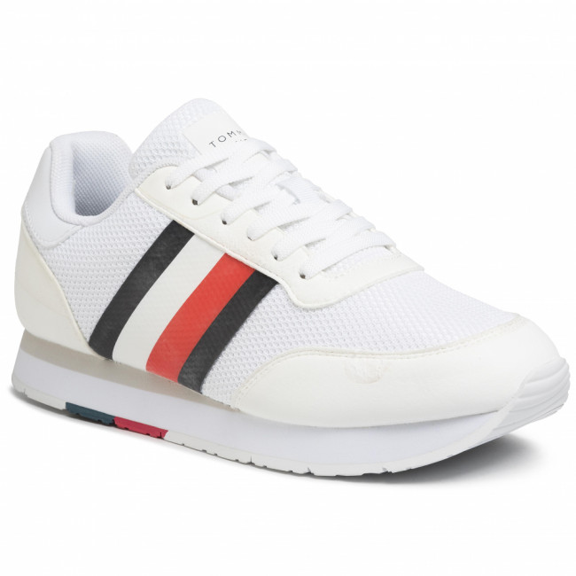 Sneakersy TOMMY HILFIGER - Corporate Material Mix Runner FM0FM02688  White YBS
