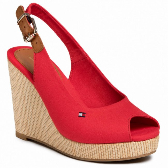 Espadrilky TOMMY HILFIGER - Iconic Elena Sling Back Wedge FW0FW04789 Primary Red XLG