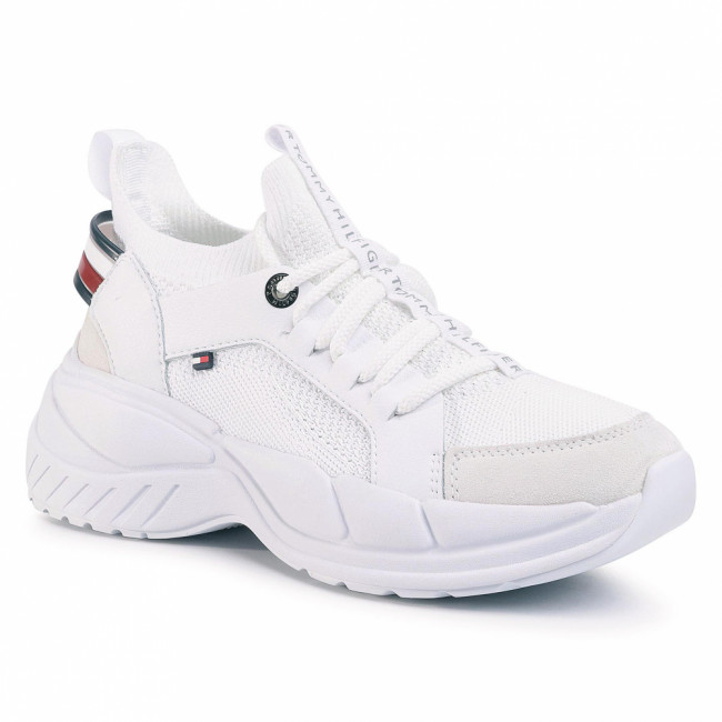 Sneakersy TOMMY HILFIGER - New Chunky Tommy Sneaker FW0FW04826 White YBS