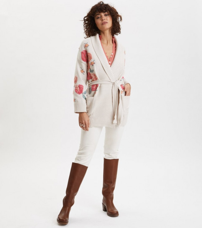 Sveter Odd Molly Enticing Embroidered Cardigan - Hnedá - 4