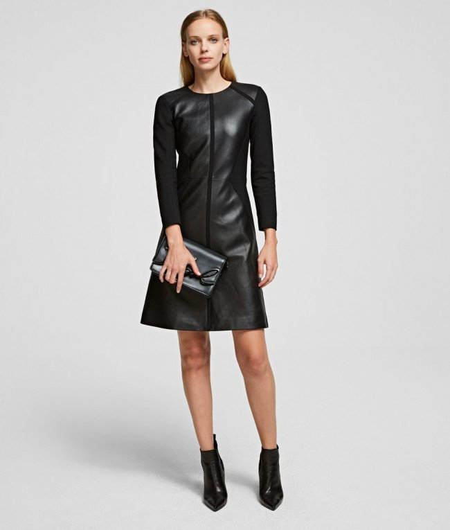 Šaty Karl Lagerfeld Leather & Punto Dress - Čierna