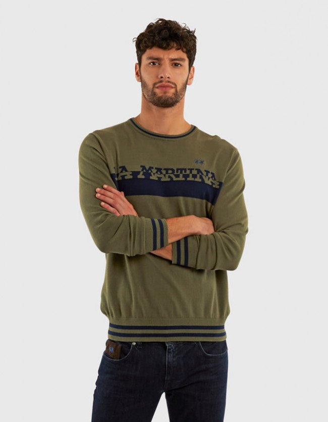Sveter La Martina Man Cotton Crew Neck Gg14 - Zelená