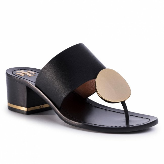 Žabky TORY BURCH - Patos Disk 45mm Sandal Calf Leather 63575 Perfect Black 006