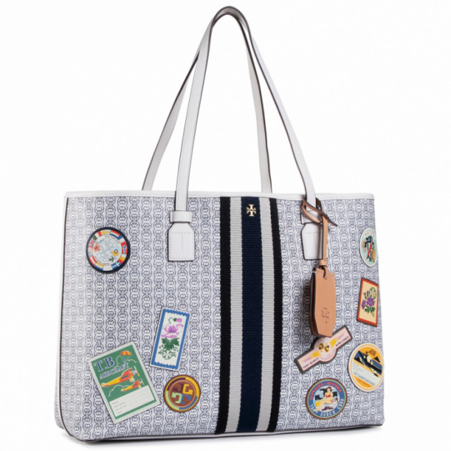 Kabelka TORY BURCH - Gemini Link Canvas Patches Tote 71922 New Ivory 104