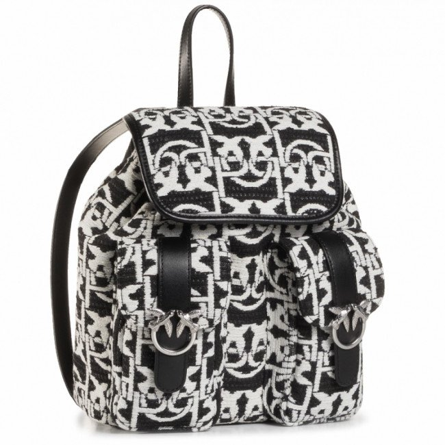 Ruksak PINKO - Love Mini Backpack Monogram AI 20-21 PLTT 1P21WB Y6NQ Nero/Bianco ZZ2
