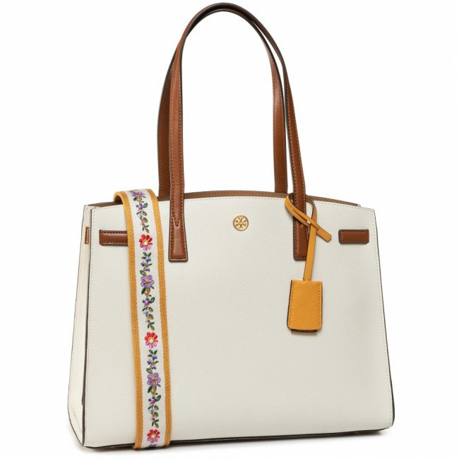 Kabelka TORY BURCH - Walker Color-Block Satchel 75213 New Ivory/Classic Cuoio 104