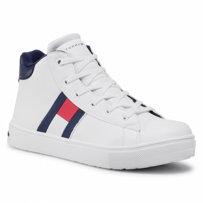 Sneakersy TOMMY HILFIGER - High Top Lace-Up Sneaker T3B4-30925-1031 S  White 100