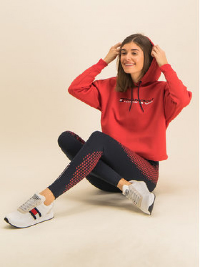 Tommy Sport Mikina Cropped Fleece S10S100360 Červená Loose Fit