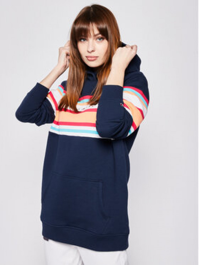 Tommy Jeans Mikina Colour Blocked DW0DW07980 Tmavomodrá Relaxed Fit