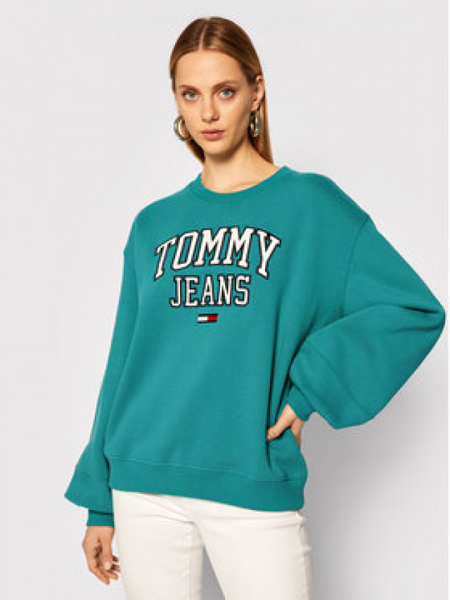 Tommy Jeans Mikina Collegiate Logo DW0DW08981 Zelená Relaxed Fit