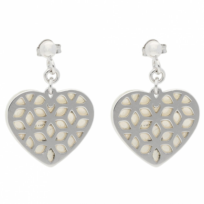Náušnice FOSSIL - Heart Cut Out JFS00489040 Sterling Silver
