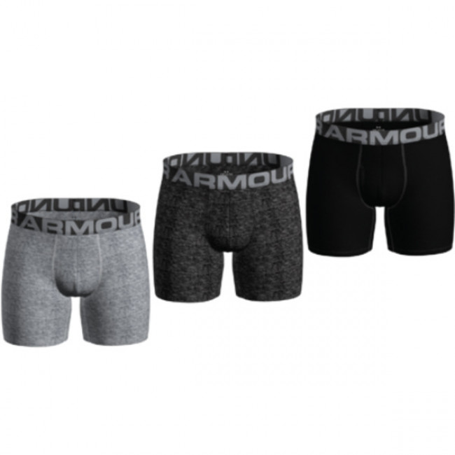 Under Armour 3 pack boxeriek UA Charged Cotton 6in 3 Pack-GRY
