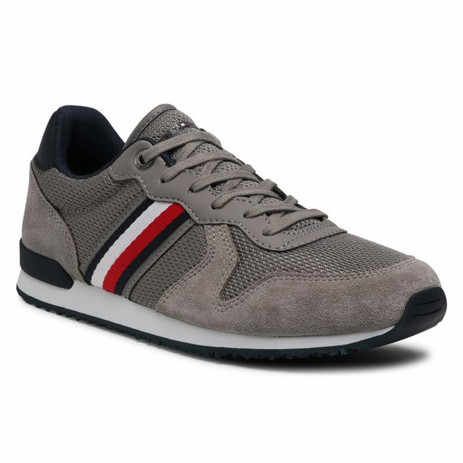 Sneakersy TOMMY HILFIGER - Iconic Material Mix Runner FM0FM03470 Pewter Grey PQ8