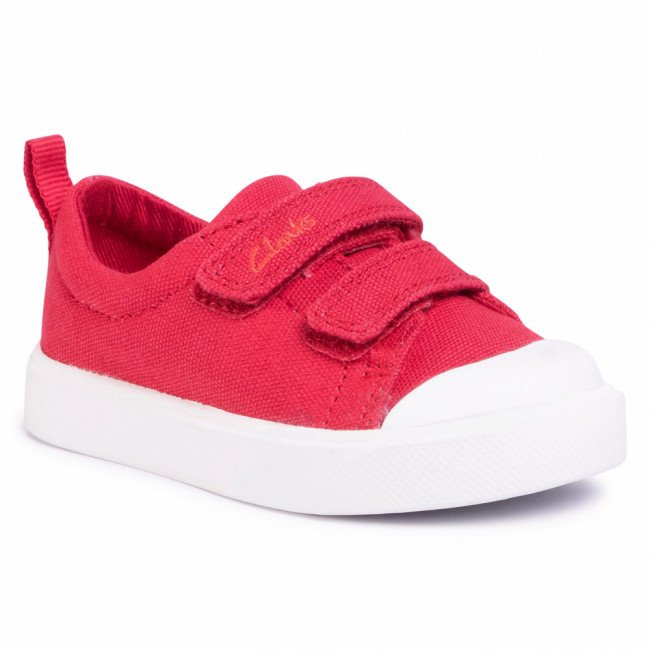 Tramky CLARKS - City Bright T 261490927 Red Canvas