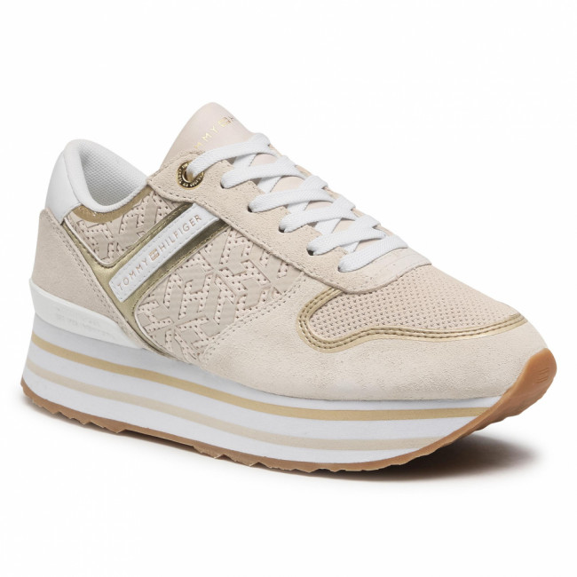 Sneakersy TOMMY HILFIGER - Th Metallic Flatform Sneaker FW0FW05559 White Dove AF2