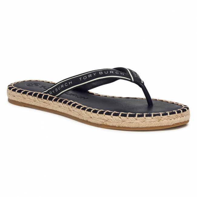 Espadrilky TORY BURCH - Tory Ribbon Thong Espadrille 79995 Perfect Navy/New Ivory 101