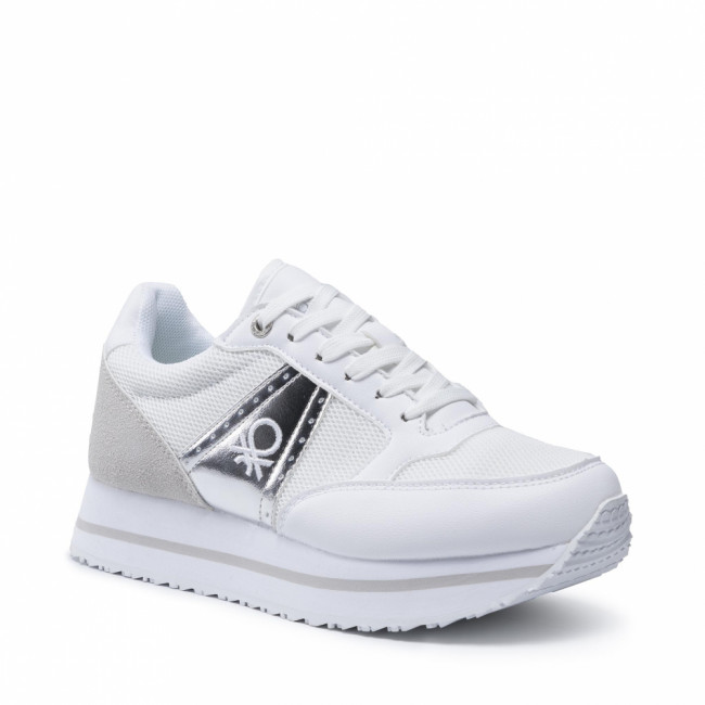 Sneakersy UNITED COLORS OF BENETTON - Bull Mix BTW113200 White/Silver 1040