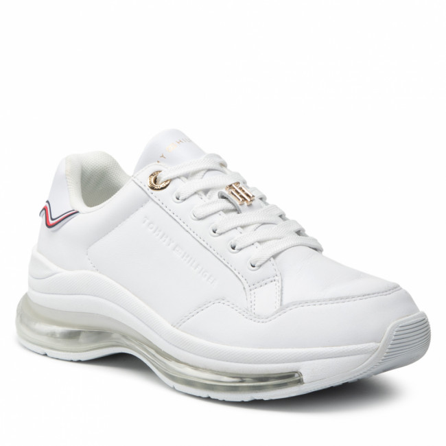 Sneakersy TOMMY HILFIGER - Signature Leather Air Runner FW0FW05921 White YBR
