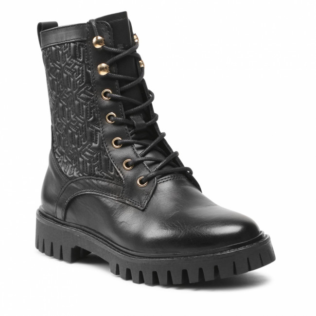 Outdoorová obuv TOMMY HILFIGER - Monogram lace Up Boot FW0FW05994 Black BDS
