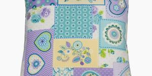 Patchwork cushion purple heart by Loom In Bloom