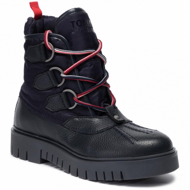 Členková obuv TOMMY JEANS - Padded Tongue Duckboot EN0EN00614 Midnight 403