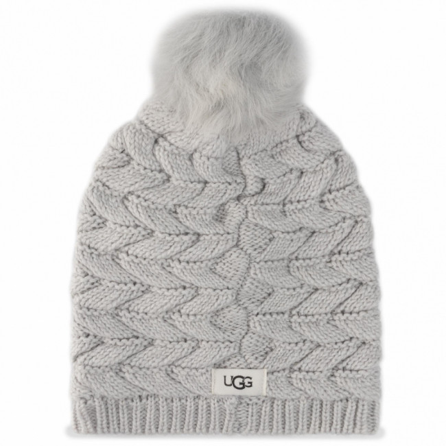 Čiapka UGG - Cable Hat With Pom 18756 Lgry